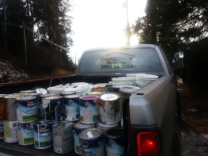 Pro Service truck filled with paint cans